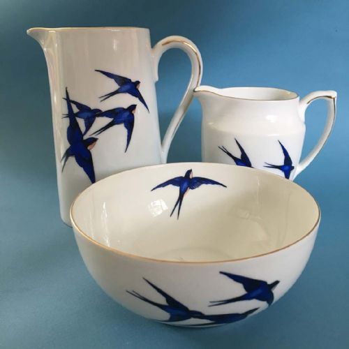 Art Deco - Czech - Blue Swallows - Water Jug, Milk Jug & Sugar